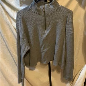 half zip, gray long sleeve